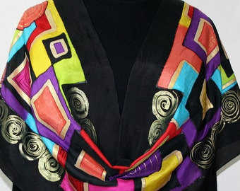 Silk Scarf Hand Painted Multicolored Silk Shawl Hand Dyed Silk Scarf SUMMER NIGHT CITY Large 14x72 Birthday Gift Scarf Gift-Wrapped Scarf