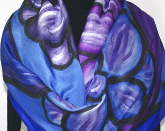 Silk Scarf Hand Painted, Silk Shawl Blue Purple, Hand Dyed Silk Scarf RIVER FLOWERS-2, Extra Large 22x72, Birthday Gift, ift-Wrapped