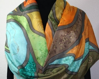 Silk Scarf Hand Painted Silk Shawl Green Terracotta, Olive Silk Scarf FOREST STREAMS ExtraLarge 22x72 Birthday Gift Scarf Gift-Wrapped Scarf
