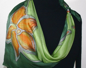 Olive Silk Scarf. Green Hand Painted Silk Shawl OLIVE AUTUMN. by Silk Scarves Colorado.Two SIZES. Elegant Silk Gift, Birthday Gift