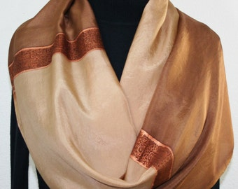 Silk Scarf Hand Painted. Tan, Caramel Handmade Silk Scarf MILK ESPRESSO. Size Large 14x72. Anniversary Gift Birthday Gift Free Gift-Wrap