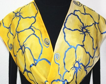 Hand Painted Silk Scarf. Yellow, Tan, Blue Handmade Silk Scarf, MORNING ROMANCE. Size 11x60. Mother Gift Bridesmaid Gift Free Gift-Wrapping