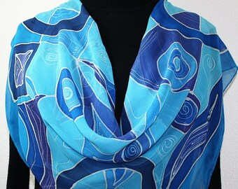 Silk Scarf Handpainted. Blue Turquoise Handmade Chiffon Silk Scarf TIME MACHINE. 30x30 square Gift Wrapped Scarf