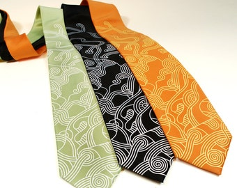 Abstract Curves Tie - Modern Art Necktie - Men's Neck Tie - Line Art