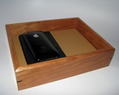 """Leather Upholstered Valet Box in Cherry. 9.25"""" x 7.25"""" x 2"""". Dresser Box. Remote Tray. Coffee Table Tray."""