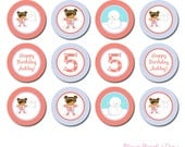 PRINTABLE Personalized Winter Birthday Snow Angel  Party Circles