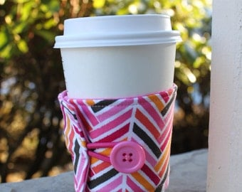 Pink and Brown Choppy Chevron - Reusable Fabric Coffee Cup Cozy - Hot or Cold Drink Sleeve - Cloth Drink Sleeve - Pink Chevron Coffee Wrap