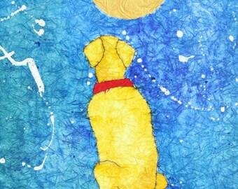 Labrador Retriever painting, ORIGINAL watercolor, yellow Lab art, dog artwork, 16x20 batik on rice paper