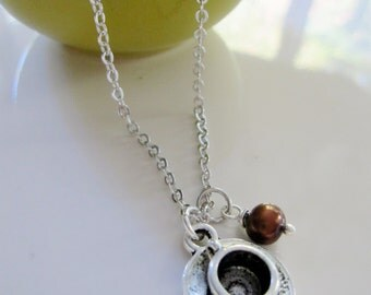 Silver Coffee Necklace, Brown Pearl, Coffee Cup, Java, Barista, Coffee Bean, Coffee Shop Owner, Employee gift, Redpeonycreations