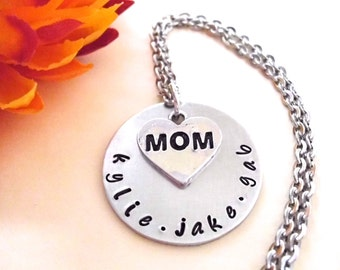 Personalized Jewelry, Mommy Necklace, Personalized Necklace, Hand Stamped Jewelry, Jewelry for Mom