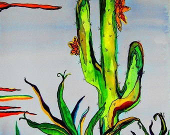 Signed Numbered Limited Edition Glicee Water Color 11x14 Print Cactus Day!