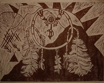 The Dream Catcher Sepia Ink Giclee Print on Archival Paper! Award Winner!