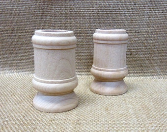 Wood Candle Cups - Unfinished 2-1/2 Tall Classic Style - Set Of 2