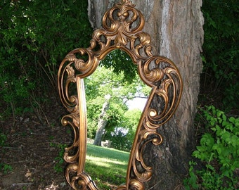 Baroque Wall Mirror, Ornate Mirror, Shown in an Antique Gold, or choose another color,Size 52 inches, or close