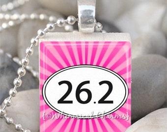 26.2 Marathon Runner Sunburst Scrabble Tile Necklace S58 - Choose Color