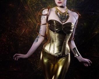 Gold metallic Metropolis corset costume/ cosplay. Custom made to measure