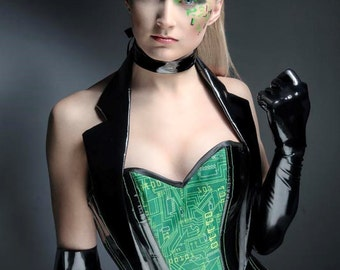 Gothic cyberpunk Matrix inspired punk black and green corset costume with tails. cosplay. Custom made to measure