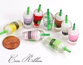 32mm 6/12/24/50 pieces Fake Miniature Coffee Drink Cup With Green Logo Stick Resin Cabochons