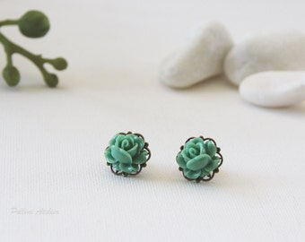Vintage Petite Rose Post Earrings. Turquoise Green. Bridesmaid Gift. Gift For Her (VER-74)
