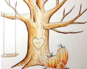 Wedding PUMPKINS Thumb Print Guest Book Tree ADD-ON