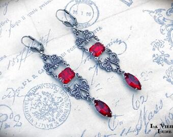Ruby Victorian Earrings, Red Jewel Earrings, Gothic Earrings, Victorian Jewelry
