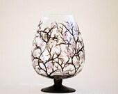 Sakura Cherry Blossom Hand Painted Glass Vase, Centerpiece, Brandy Glass,  Swarovski crystals, Vintage Look Glass Home Decor