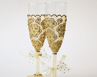 Gold Wedding Glasses, Crown Glasses, Toasting Glasses, Yellow Grey Wedding, Hand Painted, Set of 2