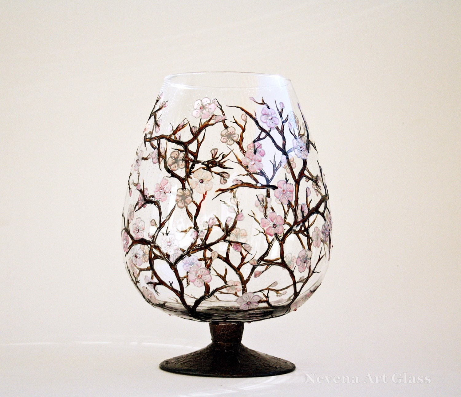 Sakura Cherry Blossom Hand Painted Glass Vase Centerpiece