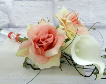 Jr. Bridesmaid Wedding bouquet coral white real touch calla lily silk rose Flower girl bouquet