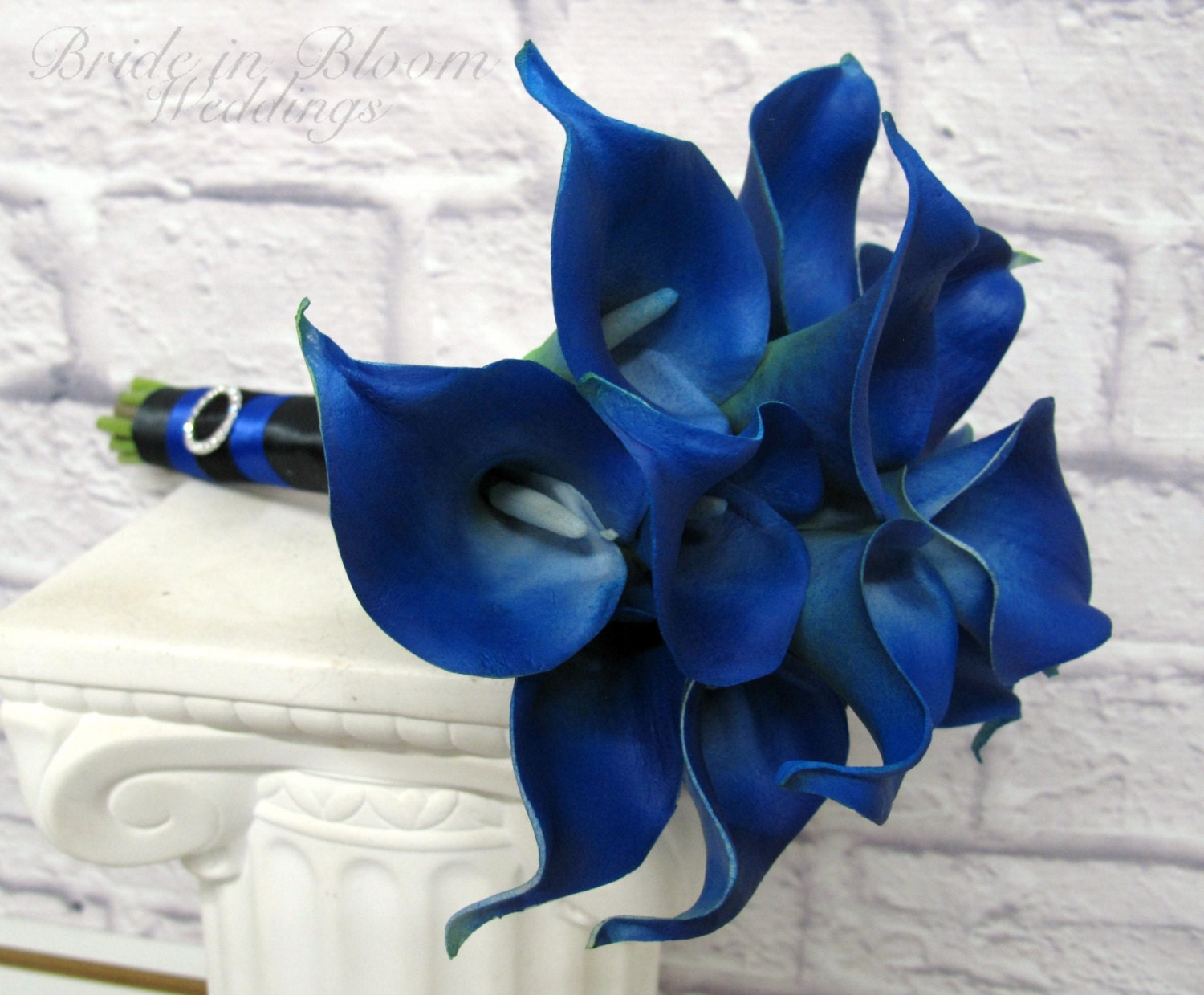 calla lily wedding bouquet royal blue real touch bridesmaid. Black Bedroom Furniture Sets. Home Design Ideas