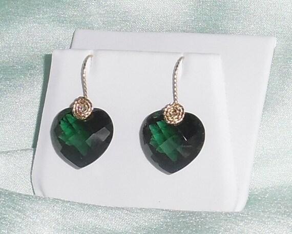 33 cts Natural Heart CKB Green Amethyst gemstones, 14kt yellow gold Pierced Earrings