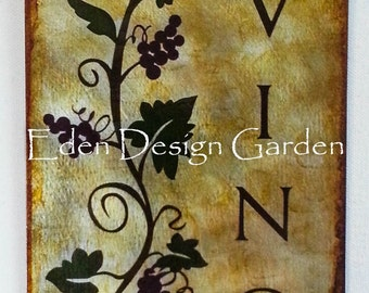 "Vino with Grape Vine 8""x12"" etched metal sign in Tuscan colors"