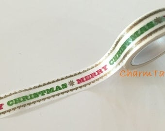 50% off Sale Merry Christmas Washi tape 15mm x 10 meters WT732