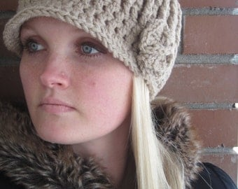 Women's Ribbed Brim Beanie with Flower!
