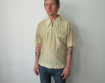 60s Men's Mustard & Brown Casual Zippered Polo