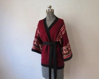 Amazing 70s Southwestern Wide-Sleeve Wrap Sweater, M - L