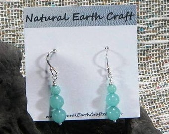 Turquoise amazonite earrings aqua blue green semiprecious stone jewelry packaged in a colorful gift bag 2217A