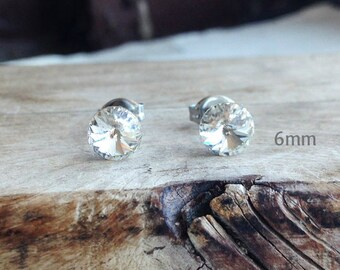 Get 15% OFF - 6mm Swarovski Crystal, Clear Crystal Silver Surgical Steel Post Earrings - Mother's Day SALE 2017