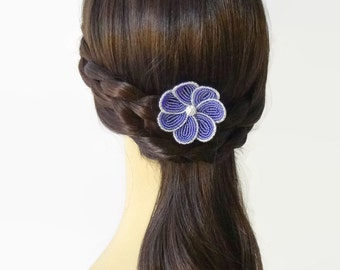 Beaded Flower Bobby Pin in Cobalt Blue and White, floral hair accessories for women, bridesmaids, and teen girls, flower hair clips