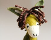 Feodor - Felt Donkey. Art Toy. Felted toy,  Marionette, Puppet, Farm Animal, Felted Animal. gift. moss green, brown. MADE TO ORDER