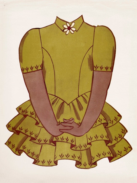 Vintage Paper Doll Yellow Dress, Photo Print, Girls Room Decor, Girls Nursery, Wall Art, Art decor, Girls room Ideas,