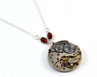 Watch Movement Necklace, Garnet Necklace, Steampunk Necklace, Sterling Silver