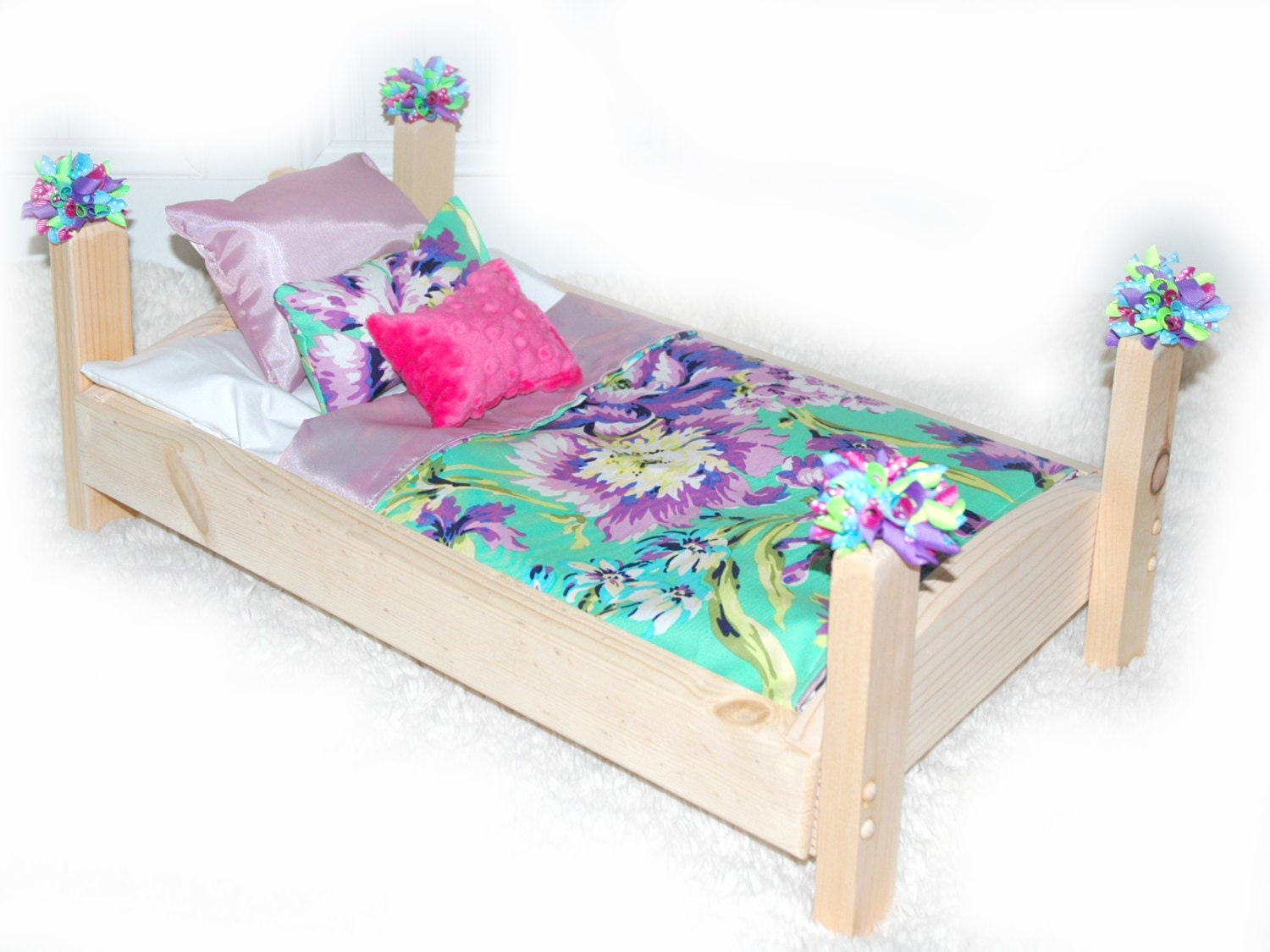 Doll bed lilac garden fits 18 inch dolls and ag by for Garden tools for 18 inch doll