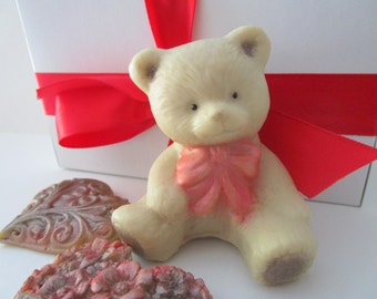 Teddy BEAR and HEARTS SOAP - gifts for teens, Stocking stuffer for her, gifts for woman, teddy bear soap