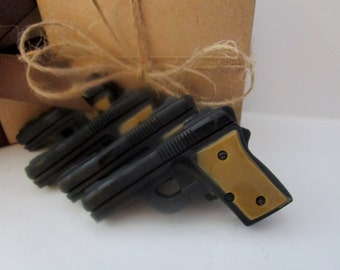 4 GUN SOAP - gift for him, stocking stuffer for man, black and brown mini pistol