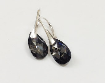 Statement Swarovski earrings, black earrings, Dangle Earrings,Gift for her,Gift for wife, sterling silver, tear drop earings,leverback