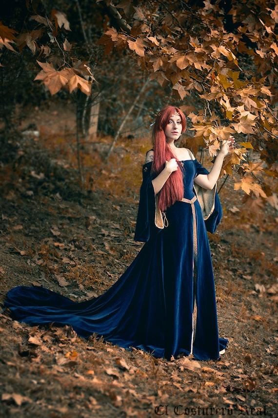 Preraphaelite Blue And Gold Celtic Dress Elvish Medieval