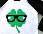 Shamrock Geek Clover Boys Raglan T Shirt Green Black Glasses St Patricks Day