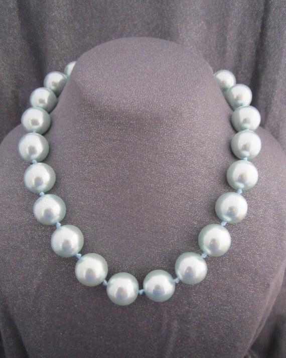 Pale Blue Pearl Beaded Necklace, Vintage Monet