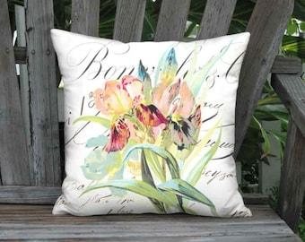 Pillow Cover - Pillow - Fleur Rayonnante Iris Flower 16x 18x 20x 22x 24x 26x 28x 30x 32x Inch Linen Cotton Cushion Cover - Botanical Pillow